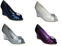 NEW Ladies Satin Wedge Evening Peep Toe Shoes NAVY SILVER IVORY PURPLE Size 3-8