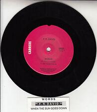 """F.R. DAVID  Words 7"""" 45 rpm vinyl record + juke box title strip"""