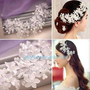 New-Bridal-Wedding-Comb-Pearl-Crystal-Rhinestone-Flower-Hair-Accessory-Headpiece