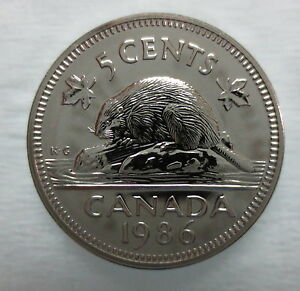 1986 CANADA 5 CENTS PROOF-LIKE COIN