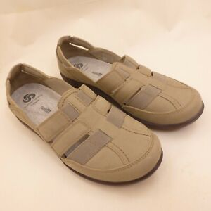 Clarks Cloudsteppers Women's Size 8 Slip-On Flat Shoes Beige Taupe Light Brown