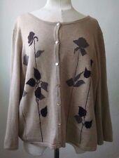 J Jill Cardigan Sweater Wool Cashmere Blend XL Tan Brown Flowers