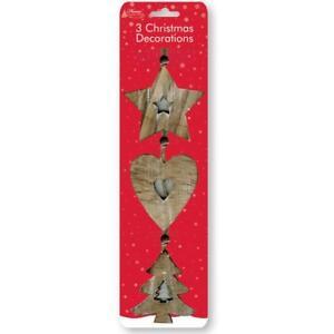 Pack de 3 étoile en Bois Coeur Arbre de Noël Suspendu Noël Décoration