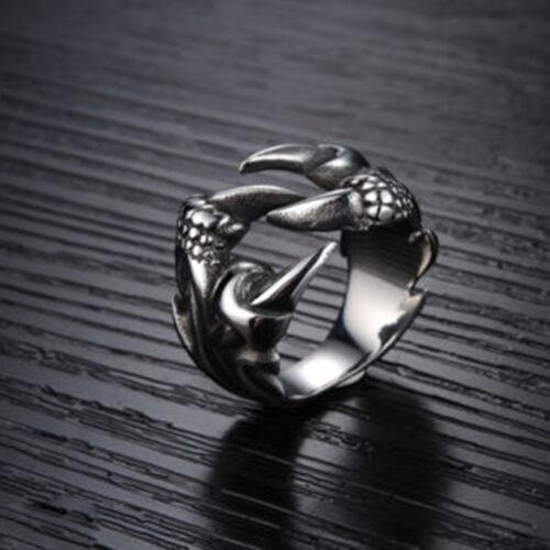 Men/'s Vintage Retro Punk Biker Stainless Steel Black Silver Adjustable Claw Ring