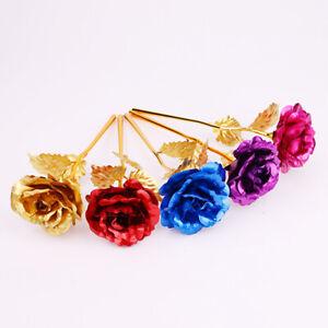 24K Gold Plated Rose Flower Mother/'s Day Gift Birthday Romantic Golden Flower US