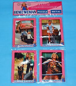 THE-BIONIC-WOMAN-Lindsay-Wagner-TV-SERIE-SET-4-METAL-CARD-w-PUZZLE-ARGENTINA