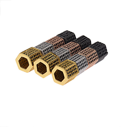 3 Rangs Zircon Pierres Précieuses Hexagone Micro Pave Connector Charm Beads À faire soi-même Bracelets
