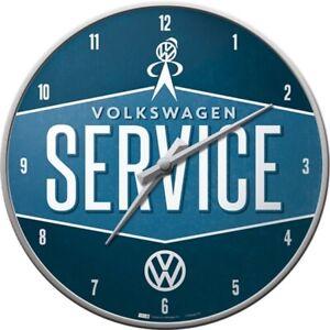 VW-Service-Nostalgie-Wanduhr-Glas-31-cm-Wall-Clock-Neu-Werkstatt
