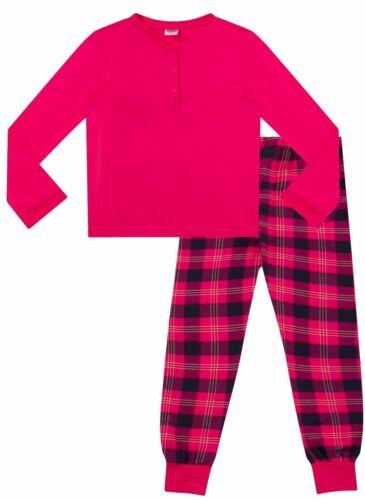 Childrens Girls  Pyjamas Plain Long Sleeve Top /& Check Printed Bottom  Pink