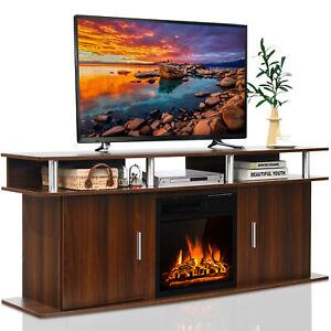 """Costway 63"""" Fireplace TV Stand W/18"""" 1500W Electric Fireplace up to 70"""" Walnut"""
