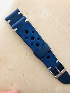 20 Mm Ucla Blue Leather Strap Armband Bracelet Cinturino With Beige Stirches Avec Des MéThodes Traditionnelles