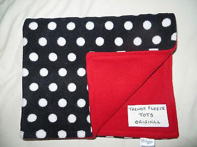 baby BLANKET RED BLACK spots  FLEECE crib pushchair pram moses cot carseat rever