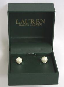 Ralph-Lauren-Earrings-Faux-Pearl-Studs-NIB-White-RET-64-USD