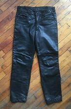 Vintage 1960s Cafe Racer Black Leather Motorcycle Pants 31x29