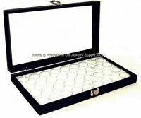 6 Glass Top Lid White 36 Jar Box Cases Display Gems Body Jewelry Gold Nugget