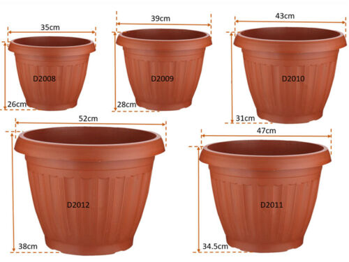 3//6 PCS Large Plastic Terracotta Planter Flower Pot With Tray Indoor Outdoor