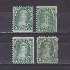 CANADA-NEW-BRUNSWICK-1860-Shades-No-gum-Used
