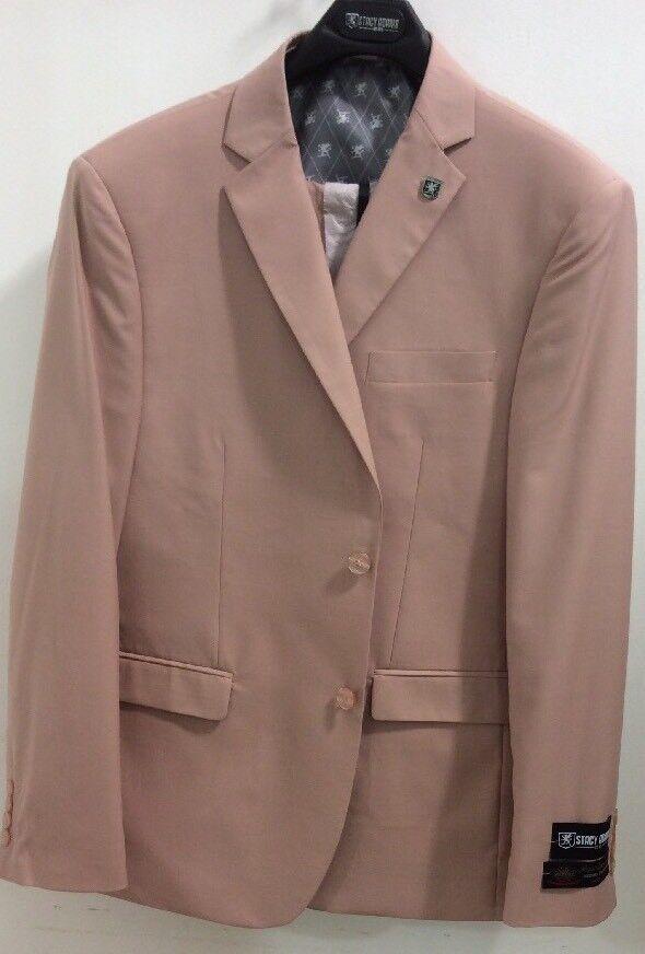 STACY ADAMS 3 PC Suit MAUVE 2 Button Single Breasted Peak Lapel 5944-BUDV