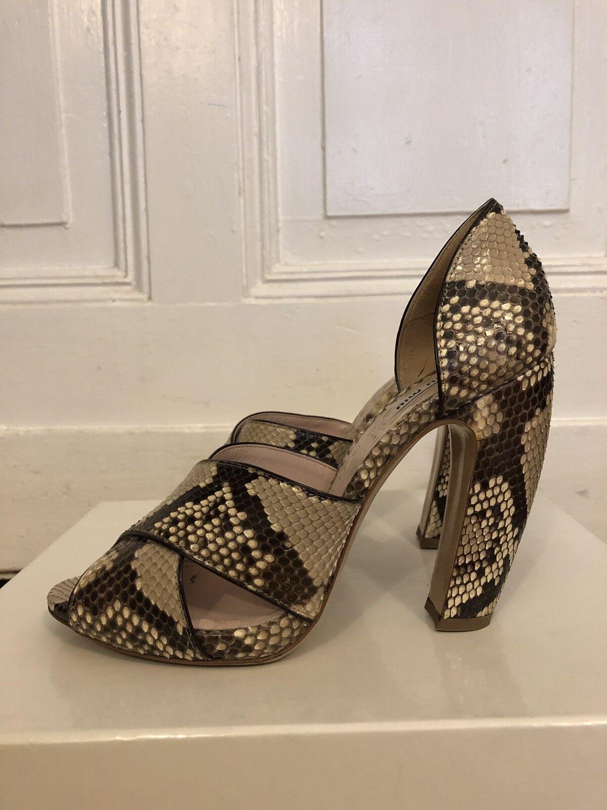 Miu Miu Miu Miu Sandalen aus Leder, Schlange in beige und brown, Größe 38,5 6da9cd