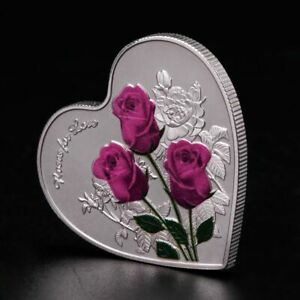 Flower-Couple-Lover-Commemorative-Coin-Heart-Shaped-Souvenir-Father-039-s-Day-Gift