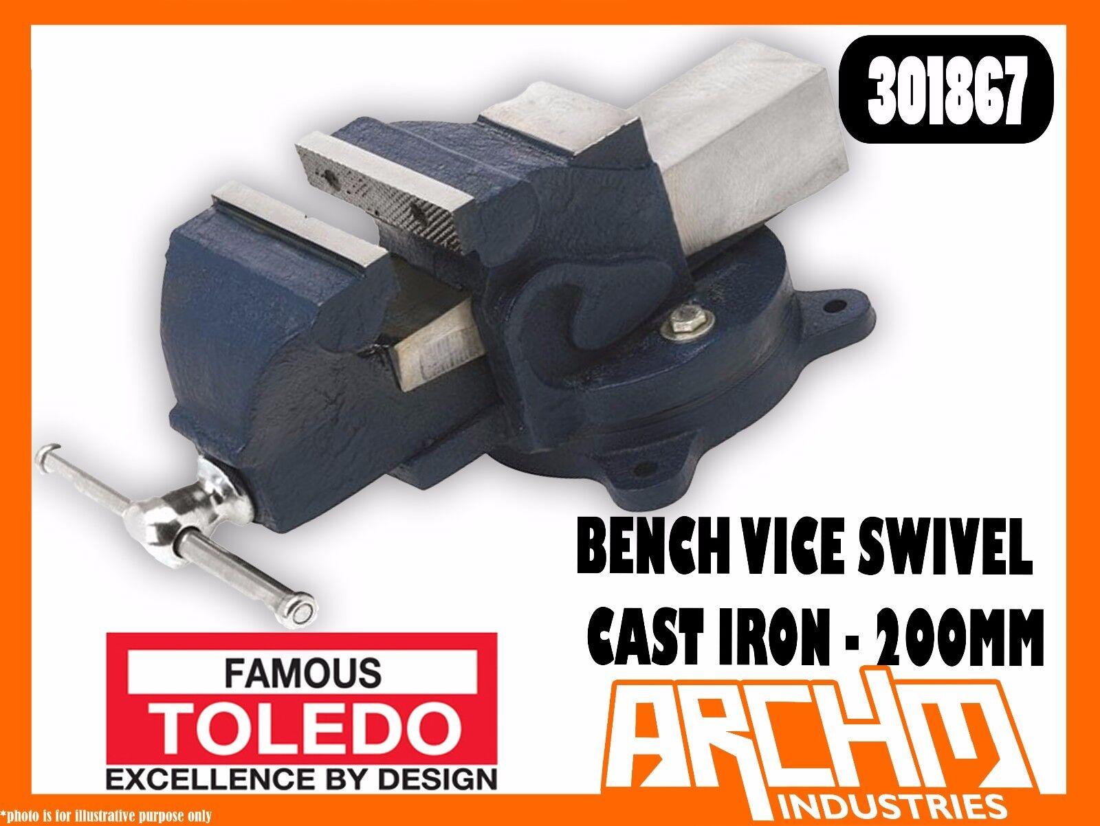 TOLEDO 301867 - BENCH VICE SWIVEL BASE STRAIGHT CAST IRON - 200MM