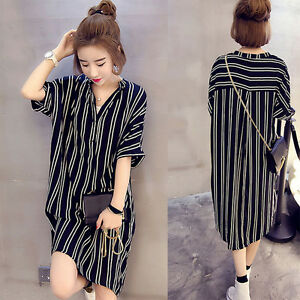 Women-039-s-Summer-Long-Striped-Shirt-Casual-V-Neck-Evening-Party-Cocktail-Dress