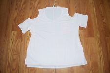 NWT Women/'s 7 SEVEN Veil Rose Pink Cold Shoulder Pocket Shirt Size 2XL XXL
