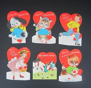 Vtg Valentines Day Cards Children Child Kids Cat Dog Lot of 6 Unused
