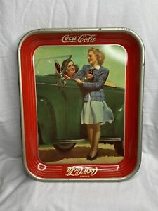 AUTHENTIC 1942 COCA COLA COKE SERVING TRAY AMERICAN ART WORKS ROADSTER GIRLS
