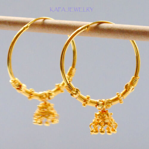 22k Yellow Gold Plated Small Hoop drop Earrings.35mm Indian  kapa Style