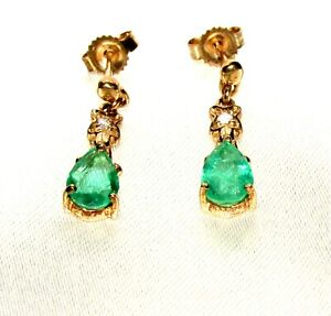 Stunning Secondhand GTV Emerald & Diamond 9ct Gold Drop Earrings, pierced ears