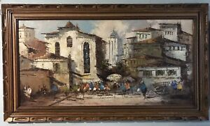 SOFA-SIZE-SALVADOR-SIGNED-EXPRESSIONIST-MEXICO-CITYSCAPE-OIL-ON-CANVAS-PAINTING