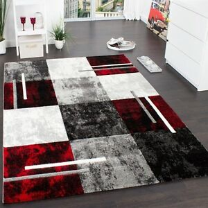 Image Is Loading Red Black Grey Rug Carpet Thick Modern Check