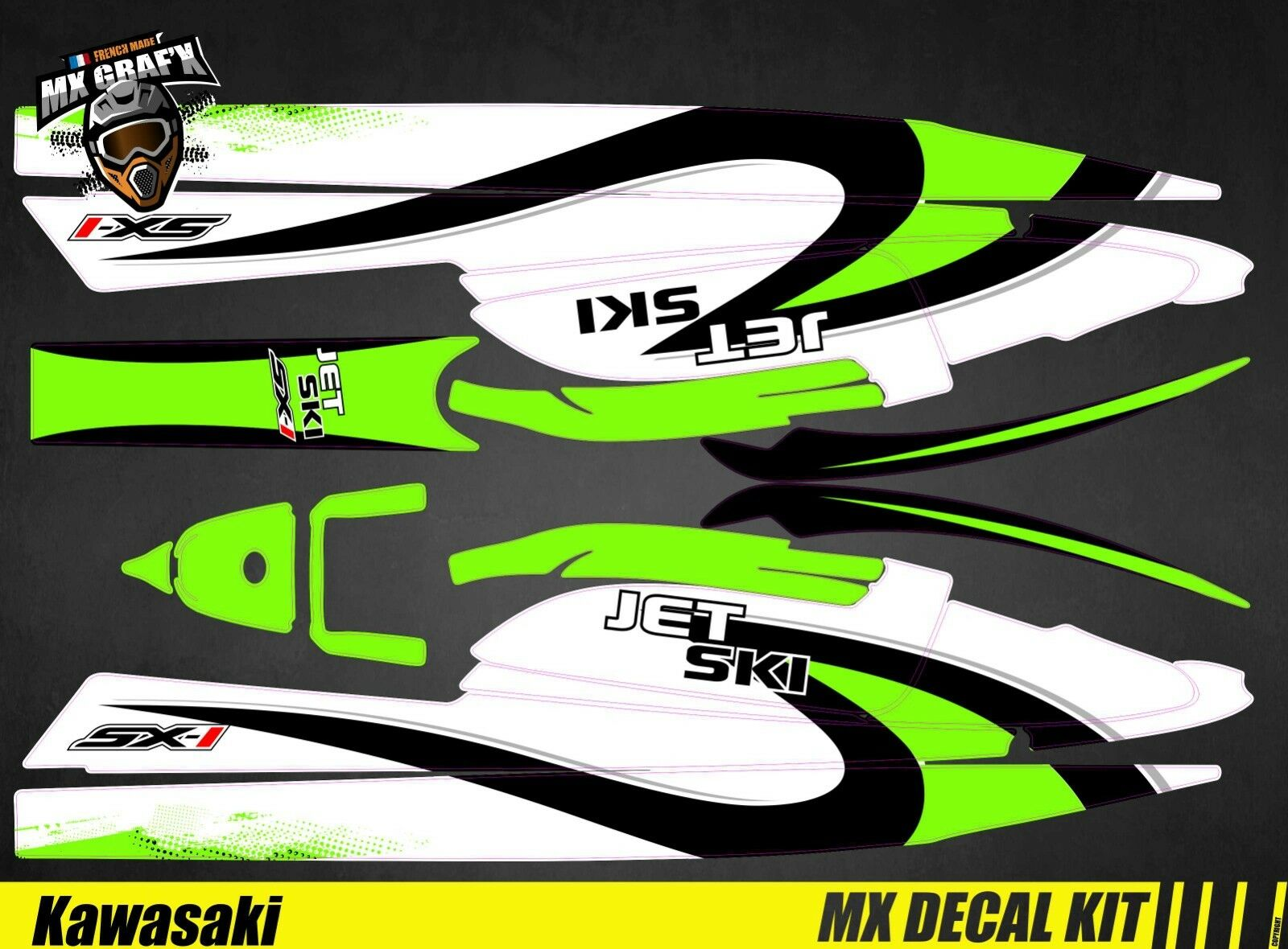 Kit Deko für   Decal Kit Kit Kit für Jet Ski Kawasaki 750 SX Sxr Sxi - Wave 1dd1f3