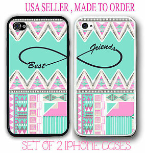 Custom Mint Aztec BFF Best Friends Case - 2 Rubber Silicone Case For iPhone 6 6S