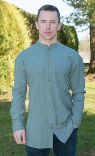 Petrol Green Traditional Irish Civilian Grandfather Shirt High Quality sc506