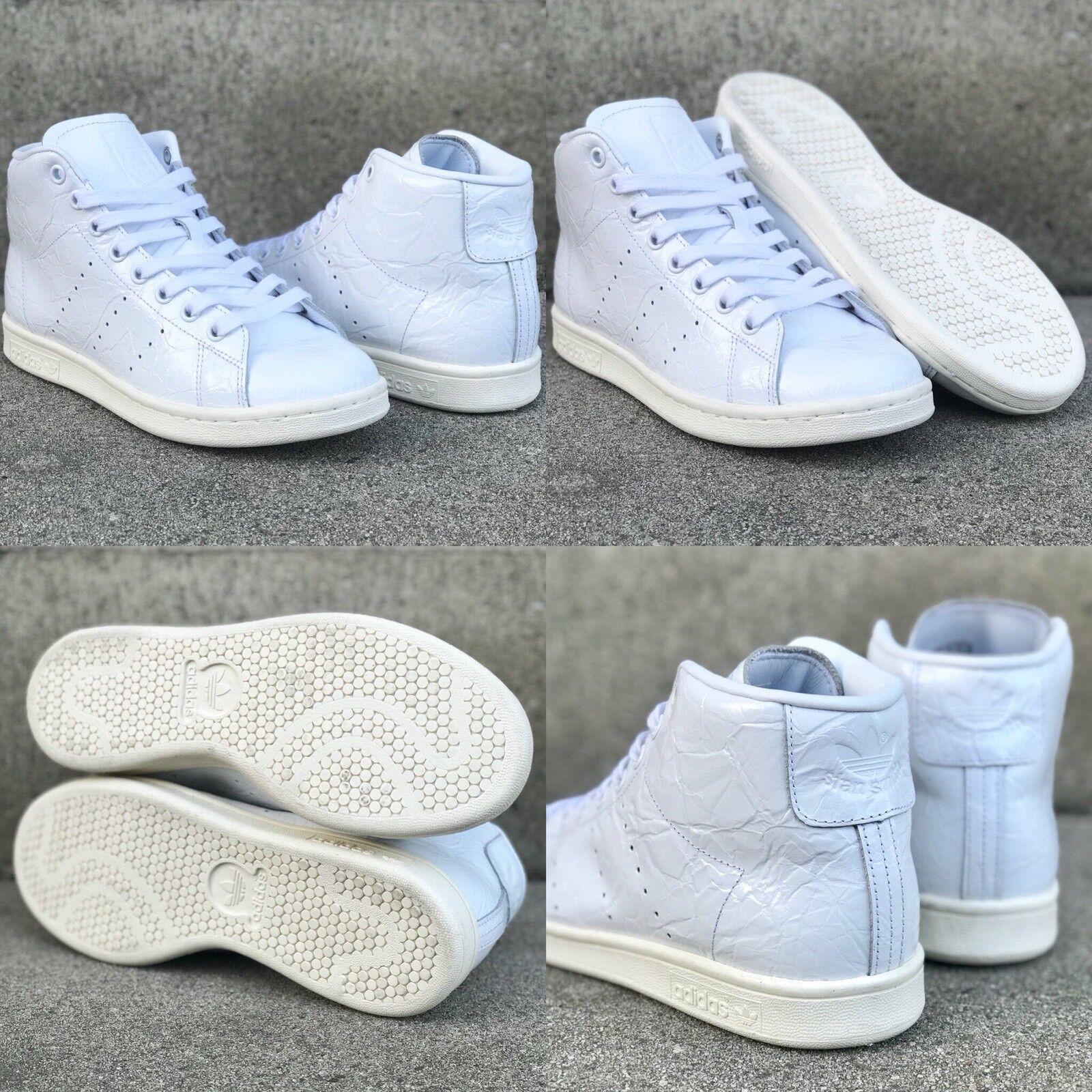 NEW ADIDAS STAN SMITH MID women's originals shoes sz 6.5 white shiny sneakers