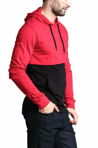 Men/'s Long Sleeve Color Block Kangaroo Pocket Hoodie T-shirts 17391-1094-FF8G