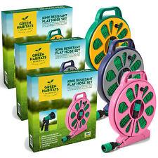 Kink Free Garden Flat Hose Pipe Spray Gun Reel Stand Spray Attachment Hosepipe