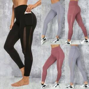 Womens-Yoga-Pants-With-Pockets-High-Waist-Fitness-Leggings-Sports-GYM-Trousers-L