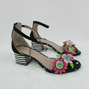 Betsey-Johnson-Ankle-Strap-Black-Floral-Striped-Heels-Sandals-Women-039-s-Size-7