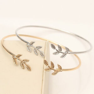 Stainless-Silver-Gold-Plated-Leaf-Branch-Adjustable-Open-Cuff-Bangle-Bracelet
