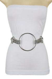Women-High-Waist-Hip-Bling-Silver-Metal-Chain-Belt-Circle-Buckle-Charms-XS-S-M