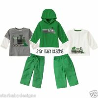 Gymboree Snow Tracks Train Outfit 3-6 Months Boys Hoodie,tops,pants 4 Pc