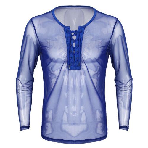 Mens Sheer Mesh Sous-vêtements à manches longues Muscle T-Shirt Tank Tops chemisier Tricot