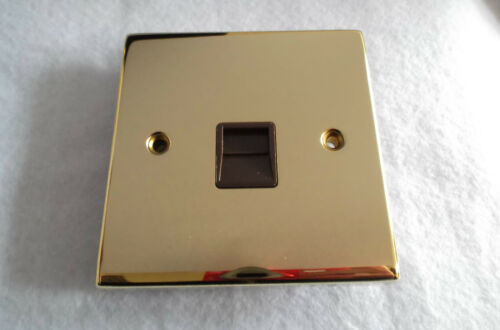 ALTO MASTER TELEPHONE SOCKET IN POLISHED BRASS FINISH AND BROWN INSERTS AL0806
