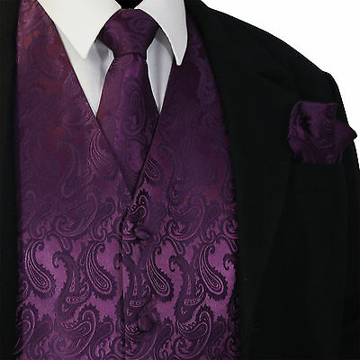 Purple Black Paisley Tuxedo Dress Vest Waistcoat /& Neck tie /& Bowtie And Hanky