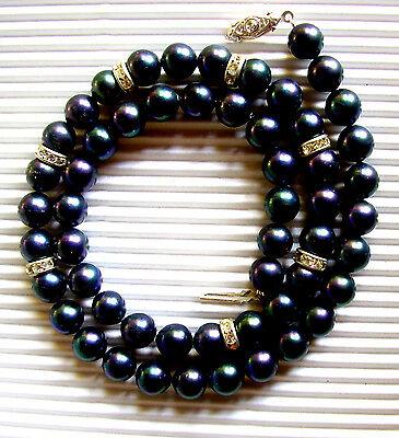 J115 / Collier En Perles Noires Fantaisie Et Strass