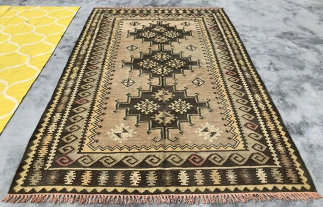 Authentic Hand Knotted Woven Vintage Wool Kilim Kilm Area Rug 8 x 6 Ft (446 KBN)