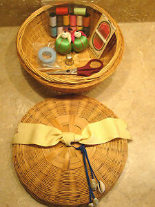 Asian Sewing Basket Tassel Ribbon with sewing items #22